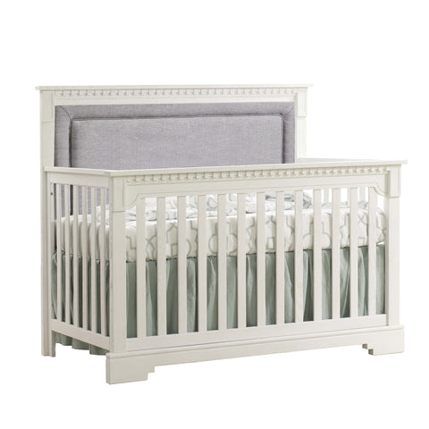 NATART Ithaca 5-In-1 Convertible Crib (W/ Upholstered Panel) - Fog