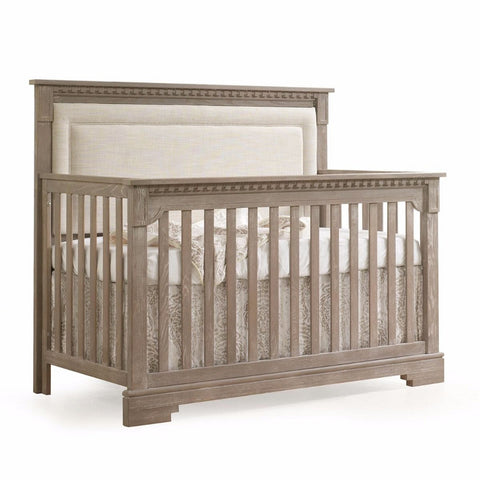 NATART Ithaca 5-In-1 Convertible Crib (w/ Upholstered Panel) - Talc