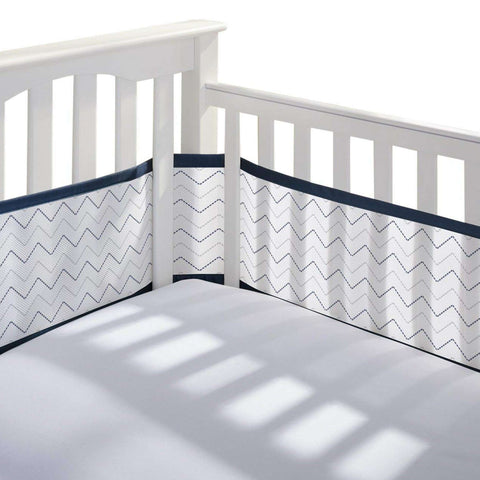 BREATHABLE BABY Breathable Mesh Crib Liner - Navy Chevron Crib Bumper Pads BRETHABLE BABY - Kido Bebe