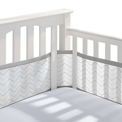 BREATHABLE BABY Breathable Mesh Crib Liner - Gray Chevron Crib Bumper Pads BRETHABLE BABY - Kido Bebe