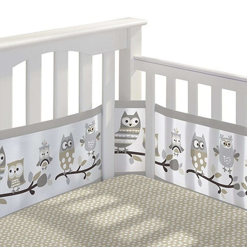 BREATHABLE BABY Breathable Mesh Crib Liner - Owl Fun Grey Crib Bumper Pads BRETHABLE BABY - Kido Bebe