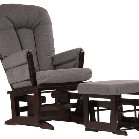 DUTAILIER Combo Classic Glider and Ottoman 64B 200 Espresso Finish with Charcoal Grey Fabric Gliding & Rocking Chairs DUTAILIER - Kido Bebe