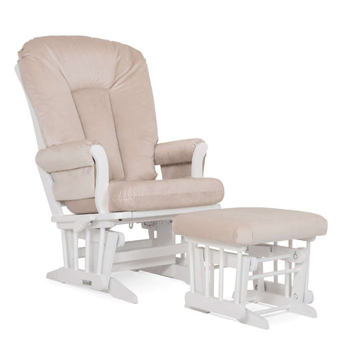 DUTAILIER Combo Classic Glider Multiposition Recliner and Ottoman 81B 220 White Finish with Beige Fabric Gliding & Rocking Chairs DUTAILIER - Kido Bebe