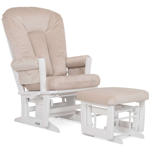 DUTAILIER Combo Classic Glider Multiposition Recliner and Ottoman 84B 220 White Finish with Beige Fabric Gliding & Rocking Chairs DUTAILIER - Kido Bebe