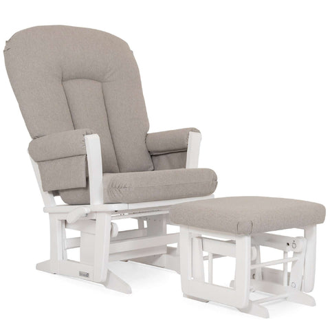 DUTAILIER Combo Classic Glider Multiposition Recliner and Ottoman 84B 220 White Finish with Light Grey Fabric Gliding & Rocking Chairs DUTAILIER - Kido Bebe