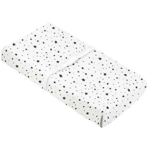 KUSHIES Change Pad Cover with Slits for Safety Straps Flannel - Scribble Stars Black & White