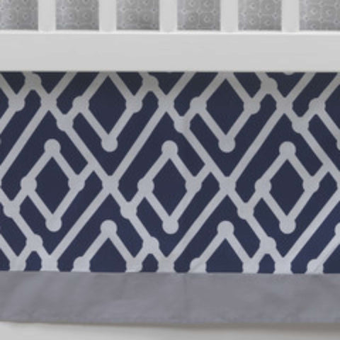 Jensen Crib Skirt - Navy Triangle Crib Skirts LAMBS & IVY - Kido Bebe