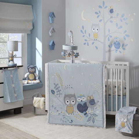 Night Owl 4 Pieces Bedding Set - (Bumper Not Included) Crib Bedding Sets LAMBS & IVY - Kido Bebe