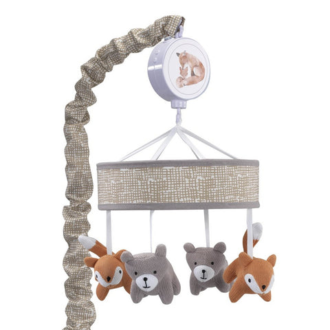 Mobile musical pour lit de bébé LAMBS & IVY Painted Forest Fox and Bear - Gris / Beige