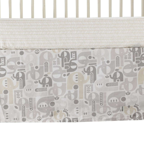 Lolli Living Naturi - Bed Skirt - Elephant Print - Crib Skirts LIVING 63 - Kido Bebe