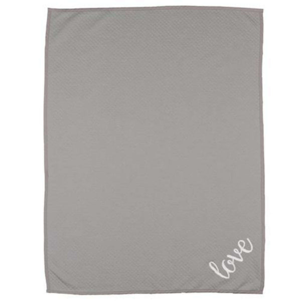 Living Textiles Diamond Matelasse Blanket - Grey Love Crib Blankets LIVING 63 - Kido Bebe