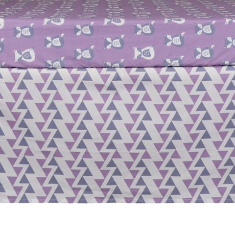 Lolli Living Purple Zigzag Bed Skirt Crib Skirts LOLLI - Kido Bebe