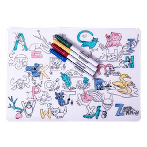 MOMBELLA Silicone Placemat with Colouring Markers - Zoo Baby Toys MOMBELLA - Kido Bebe