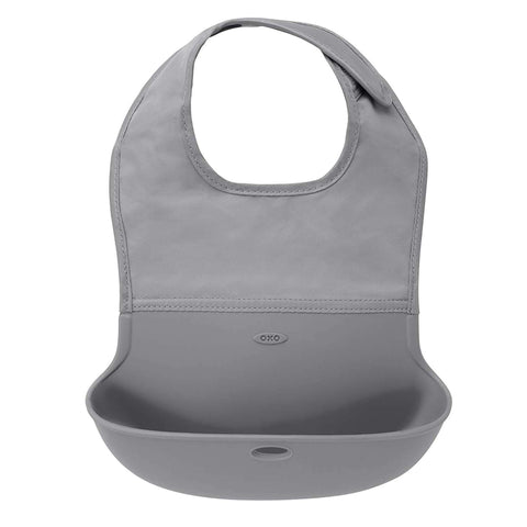 OXO TOT Roll Up Bib, One Size - Gray Bibs OXO TOT - Kido Bebe