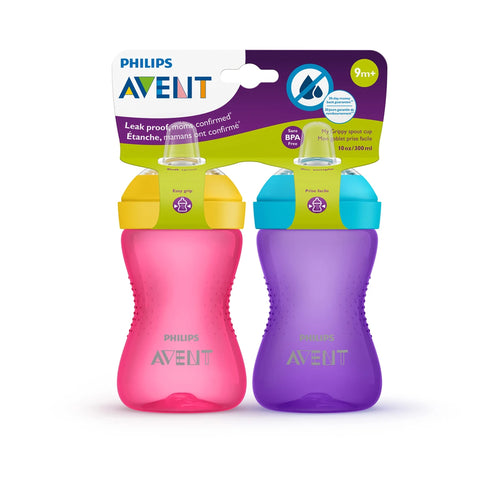 PHILIPS AVENT My Grippy Bec Cup 10oz 2pk - Rose/Violet