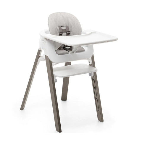 STOKKE Steps High Chair Complete - Hazy Grey Legs / White Seat / White Babyset / Wihte Tray / Grey Cushion