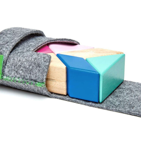TEGU - 6 Piece Tegu Pocket Pouch Prism Magnetic Wooden Block Set, Blossom Baby Toys TEGU - Kido Bebe