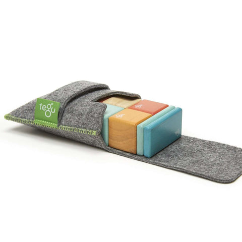 TEGU - 8 Piece Tegu Pocket Pouch Magnetic Wooden Block Set, Sunset Baby Toys TEGU - Kido Bebe
