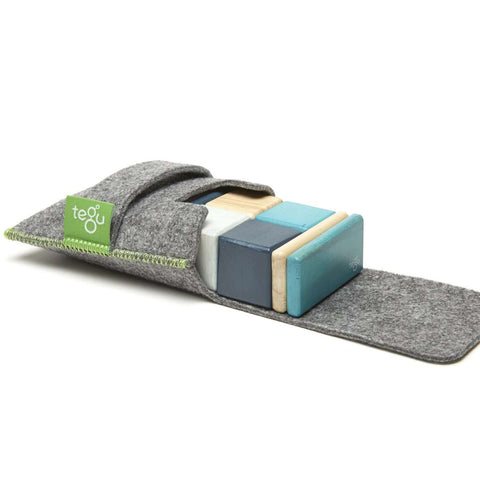 TEGU - 8 Piece Tegu Pocket Pouch Magnetic Wooden Block Set, Blues Baby Toys TEGU - Kido Bebe