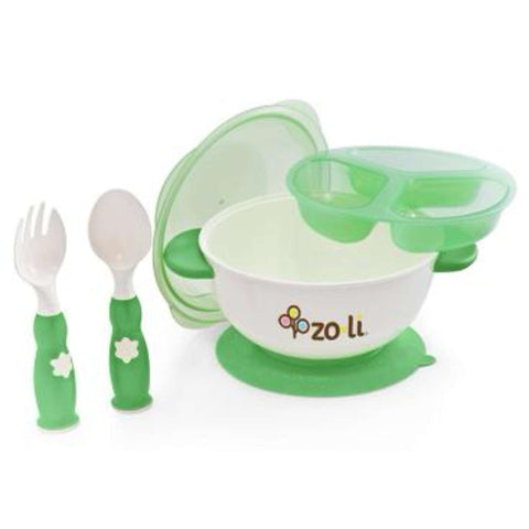 Stuck Suction Feeding Bowl Kit - Green Plate & Bowls & Utensils ZOLI - Kido Bebe
