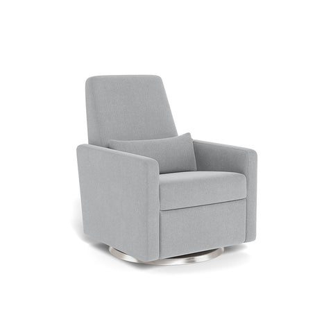 MONTE DESIGN Grano Glider / Recliner - Performance Heathered Nordic Grey Fabric / Stainless Steel Swivel Base