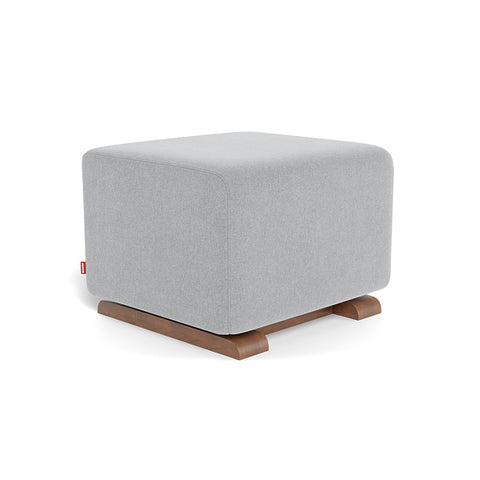 MONTE DESIGN Pouf Como - Base Noyer / Tissu Performance Gris Nordique Chiné