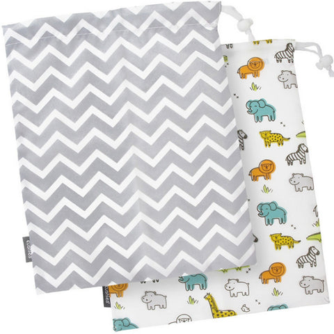 KUSHIES On the Go Wet Bag (2 Pk) Large - White Safari / Grey Chevron