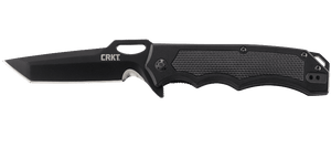 CRKT 7050 SEPTIMO JEREMY VALDEZ BLACK FINISH PLAIN EDGE FOLDING KNIFE