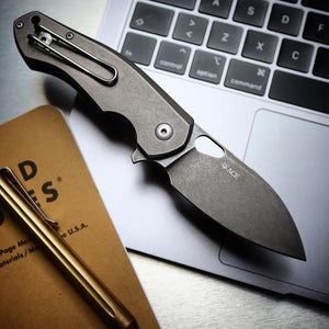 GIANT MOUSE ACE KNIVES BIBLIO TI PVD TUMBLED BLADE M390 STEEL FOLDING KNIFE.