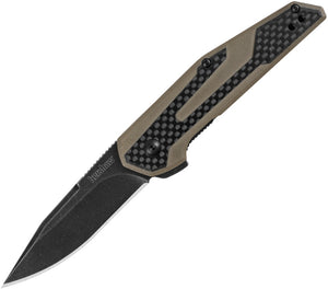 KERSHAW 1160TANBW TAN ANSO FRAXION LINERLOCK CARBON FIBER HANDLE FOLDING KNIFE.