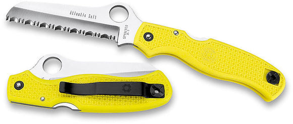 SPYDERCO C89SYL ATLANTIC SALT YELLOW FRN SERRATED EDGE H-1 FOLDING KNIFE