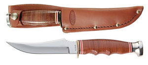 KABAR 1233 SKINNER LEATHER STACK FIXED BLADE KNIFE WITH LEATHER SHEATH