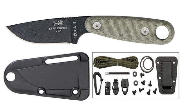ESEE ESIZ2BKIT IZULA II BLACK BLADE FIXED BLADE NECK CARRY KNIFE WITH KIT.
