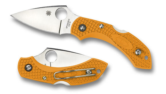 SPYDERCO C28POR2 NEW DRAGONFLY 2 ORANGE PLAIN EDGE FOLDING KNIFE