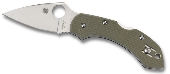SPYDERCO C28GPFG DRAGONFLY FOLIAGE GREEN G10 HANDLE FOLDING KNIFE