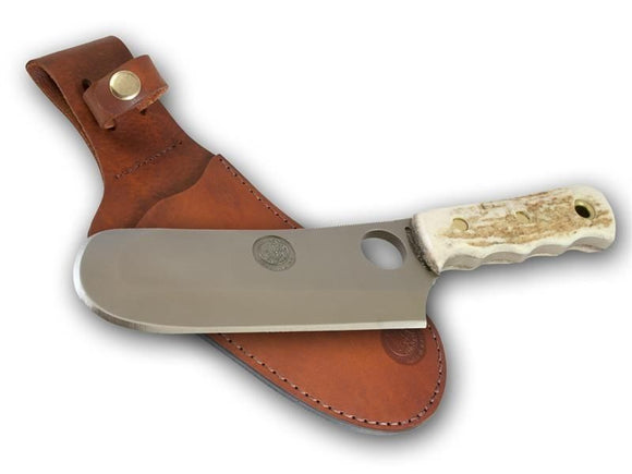 KNIVES OF ALASKA 00002FG BROWN BEAR STAG FIXED BLADE KNIFE WITH LEATHER SHEATH