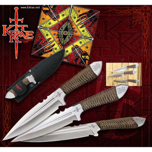 "KIT RAE KR0059 AIRCOBRA 9"" TRIPLE THRPWING KNIFE SET WITH SHEATH."