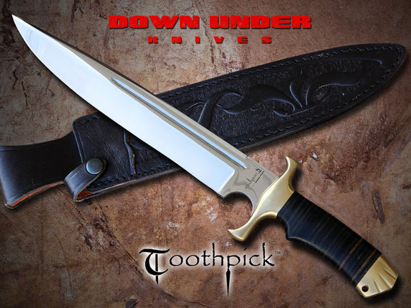 DOWN UNDER KNIVES DUKTP TOOTHPICK FIXED BLADE KNIFE WITH LEATHER SHEATH