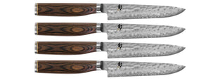 SHUN PREMIER TDMS0400 4 PIECE STEAK KNIFE SET.STEAKS DESERVE THE VERY BEST KNIFE