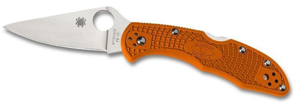 Spyderco C11fpor Delica Flat Ground Orange Frn Folding Knife