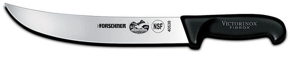 SWISS ARMY VICTORINOX 40539 10 INCH CURVED CIMETER FIBROX HANDLE KITCHEN KNIFE.
