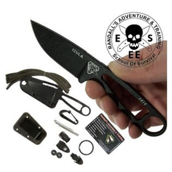 ESEE IZULA-B-KIT IZULA BLACK BLADE FIXED BLADE NECK CARRY KNIFE WITH KIT.