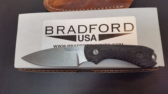 BRADFORD 3S-101 GUARDIAN3 BLACK 3D MICARTA M390 FIXED BLADE KNIFE W/SHEATH