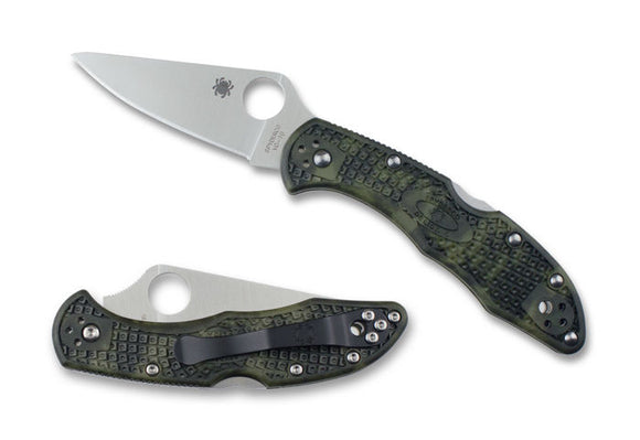 SPYDERCO C11ZFPGR DELICA ZOME HANDLE FLAT GROUND VG10 GREEN FOLDING KNIFE
