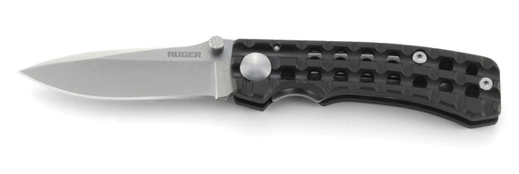 RUGER KNIVES R1803 GO-N-HEAVY COMPACT BILL HARSEY PLAIN EDGE FOLDING KNIFE.