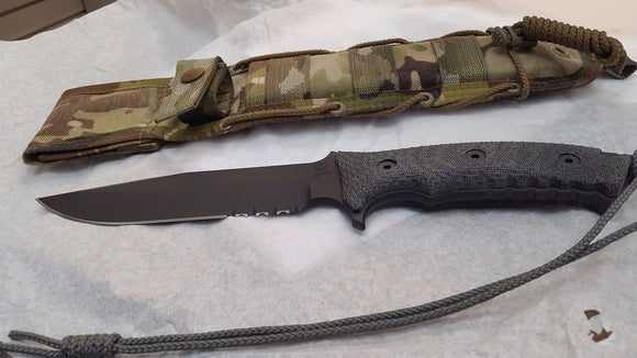 CHRIS REEVE PAC-1001 PACIFIC BLACK SERRATED FIXED BLADE KNIFE WITH SHEATH