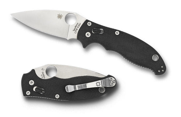 Spyderco c101gp2 manix ii s30v plain edge g10 handle folding knife. Flat Ground.