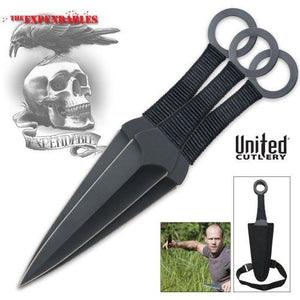 UNITED UC2772 EXPENDABLES KUNAI 3 PIECE TRIPLE THROWER SET WITH SHEATH