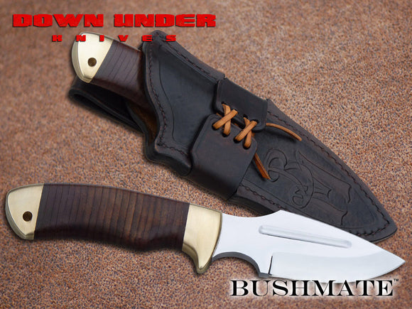 DOWN UNDER KNIVES DUKBM THE BUSHMATE FIXED BLADE KNIFE WITH LEATHER SHEATH
