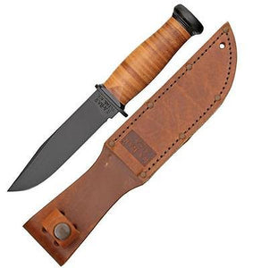 KABAR 2225 MARK I KNIFE PLAIN EDGE LEATHER HANDLE AND SHEATH FIXED BLADE KNIFE.